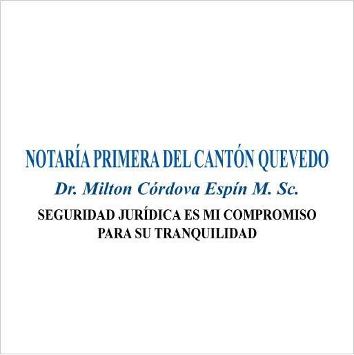 Notaría Primera del Cantón Quevedo Dr. Miltón Córdova Espín M.Sc.-logo
