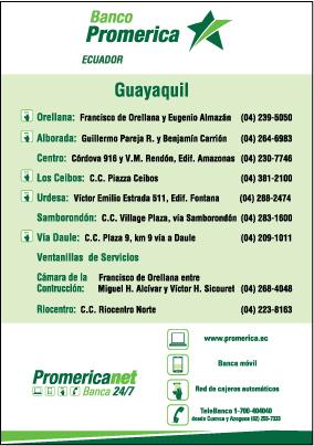 Sucursales de banco promerica s a en guayaquil guayas for Ver sucursales telefonos
