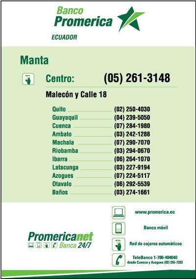 Sucursales de banco promerica s a en manabi ecuador for Sucursales provincia